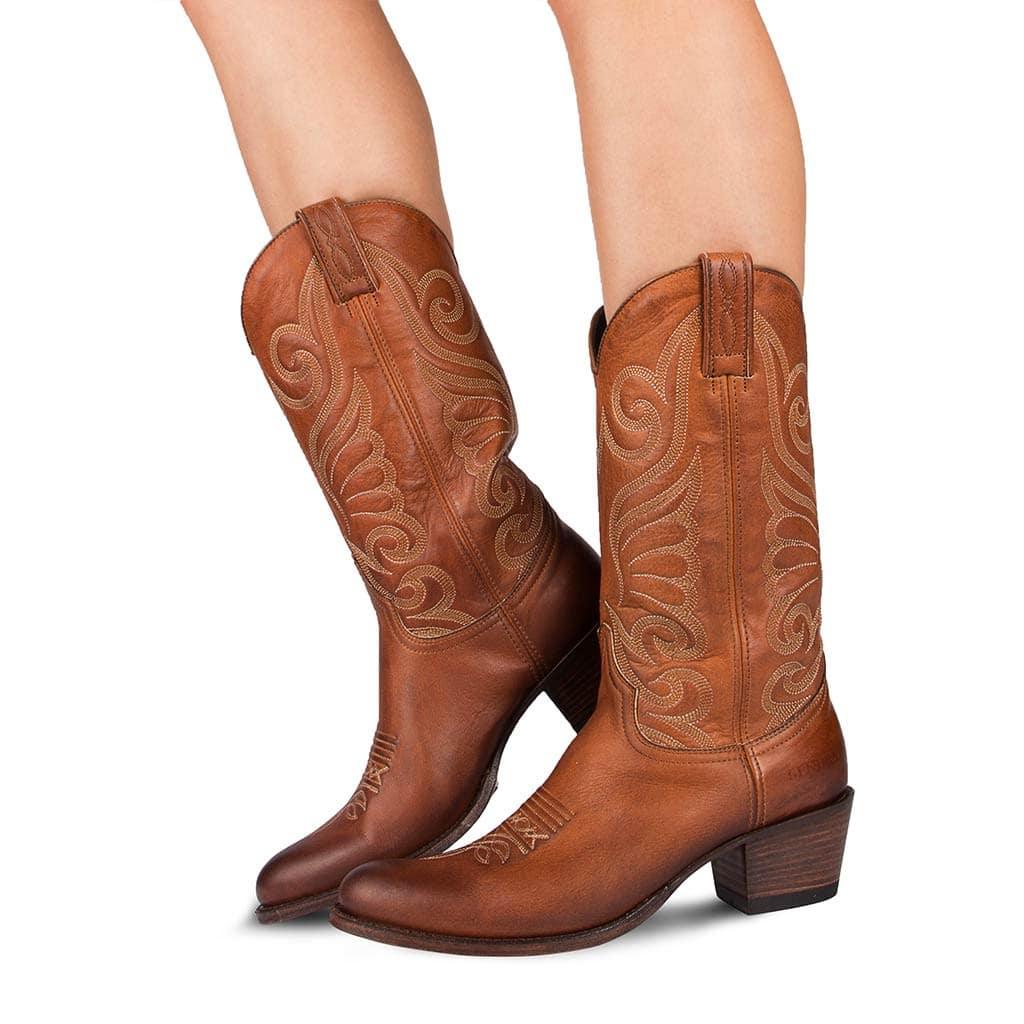 bottes cuir femme western