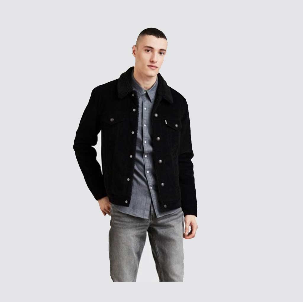 16365 0068 levi 39 s type veste noir en jean trucker sherpa en velours homme la joya western store. Black Bedroom Furniture Sets. Home Design Ideas
