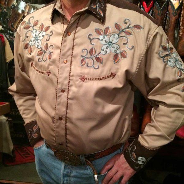 36S7402-chemise-country-western-panhandle-slim-beige_marron-avec-broderie-fleur-série-limited-homme-la-joya