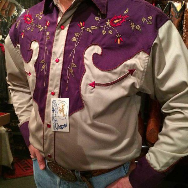 36S9224-chemise-country-western-panhandle-slim-VIOLETTE_BEIGE-avec-broderie-fleur-rose-série-limited-homme-la-joya
