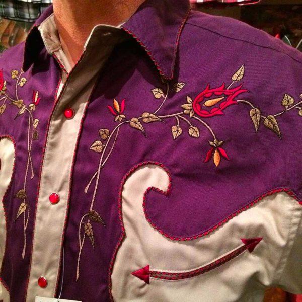 36S9224-chemise-country-western-panhandle-slim-VIOLETTE_BEIGE-avec-broderie-fleur-rose-série-limited-homme-la-joya2