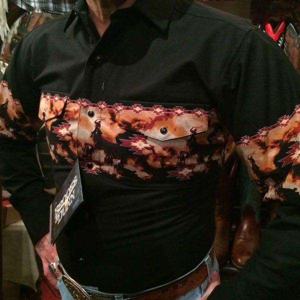 V6S2402-chemise-country-western-BROOKS-&-DUNN-NOIRE-avec-motif-rodeo-fleur-série-limited-homme-la-joya