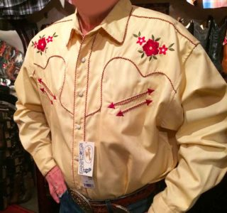 chemise PANHANDLE SLIM western country homme jaune clair avec broderie la joya western