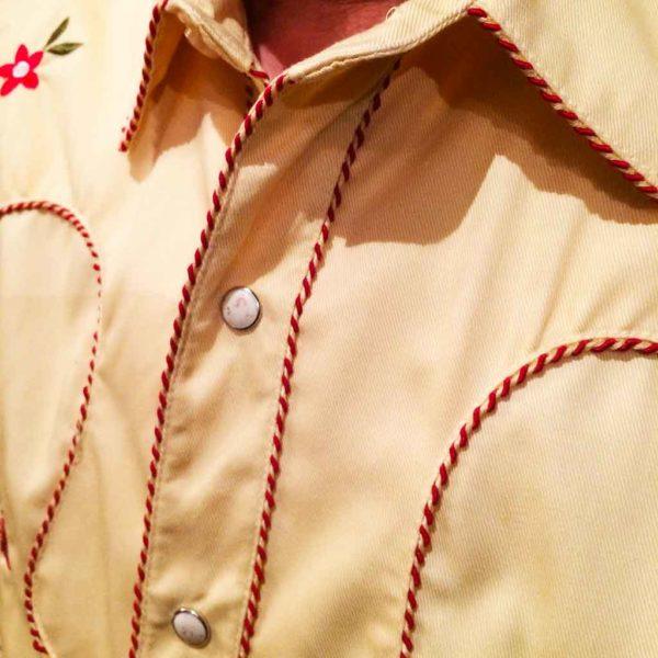 chemise PANHANDLE SLIM western country homme jaune clair avec broderie la joya western2
