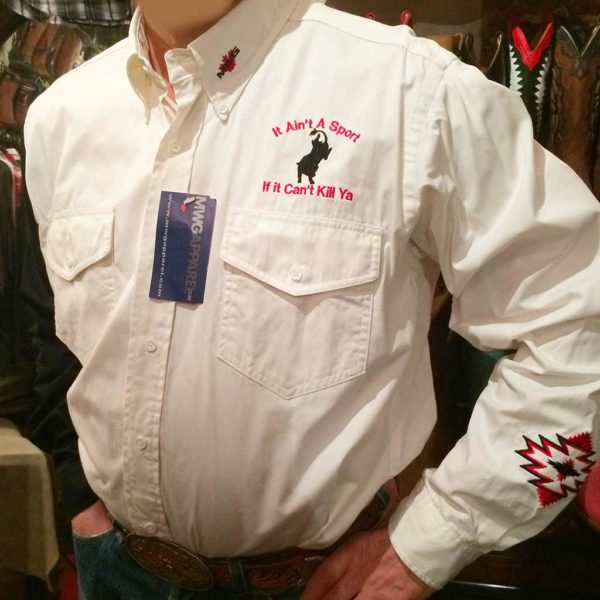 chemise country western MWG BLANCHE:BLEU MARINE broderie made in Canada homme la joya