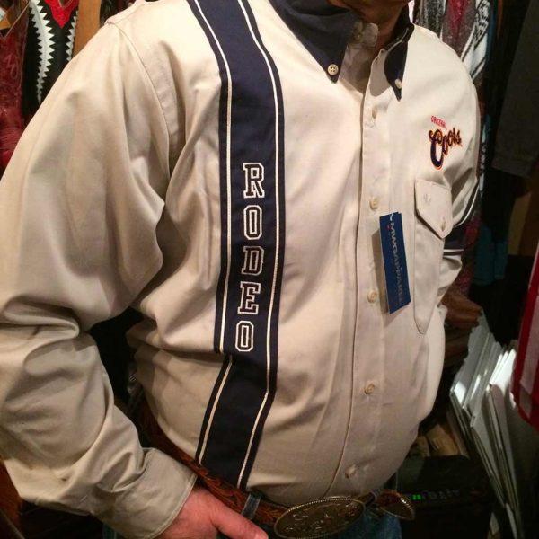 chemise country western MWG beige: BLEU MARINE broderie made in Canada homme la joya 4