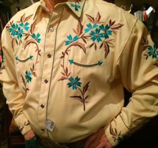 chemise country western PANDANDLE SLIM jaune avec broderie homme la joya 1