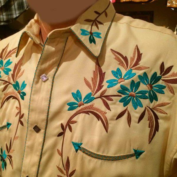 chemise country western PANDANDLE SLIM jaune avec broderie homme la joya 2