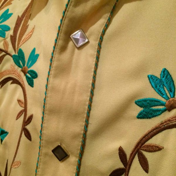 chemise country western PANDANDLE SLIM jaune avec broderie homme la joya 3