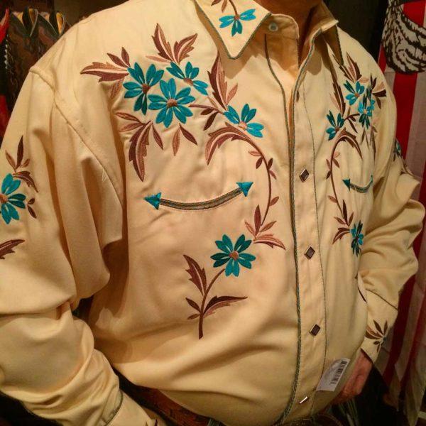 chemise country western PANDANDLE SLIM jaune avec broderie homme la joya 4