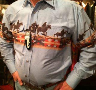 chemise-country-western-ROPER--BLEU-AVEC-motif-cowboy-série-limited-homme-la-joya