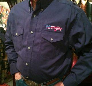 chemise country western WRANGLER BLEU MARINE broderie color USA homme la joya