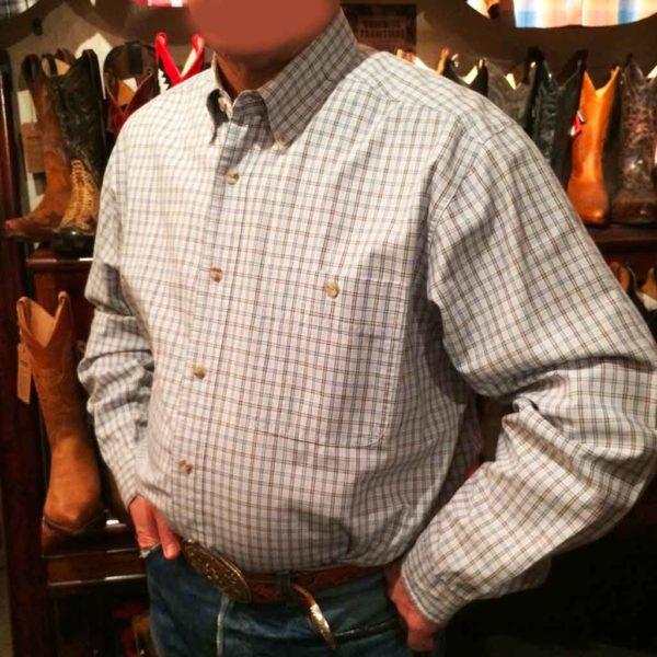 chemise wangler western country homme carreaux bleu clair sans broderie la joya western