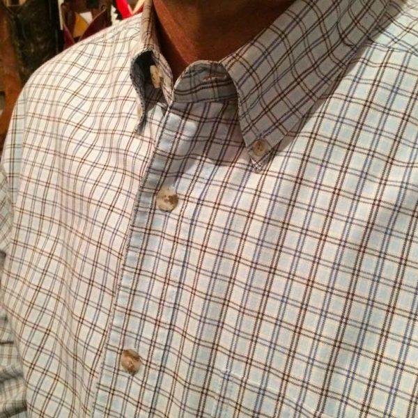 chemise wangler western country homme carreaux bleu clair sans broderie la joya western1