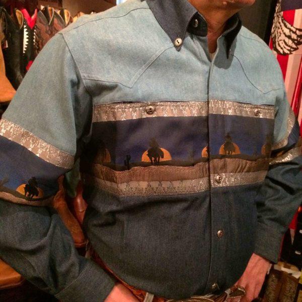 chemise-western-country-Stars-and-Stripes-motif-loup-bleue-color-bleue-homme-la-joya-3