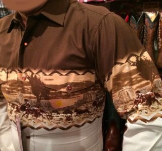 chemise western panhandle slim ref cowboy homme marron:beige USA lajoya1
