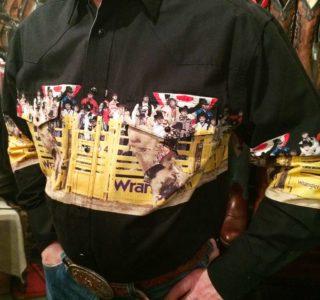 chemise western ref MC6091M WRANGLER homme NOIR motif imprimé rodeo cowboy lajoya