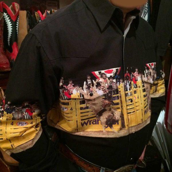 chemise western ref MC6091M WRANGLER homme NOIR motif imprimé rodeo cowboy lajoya3