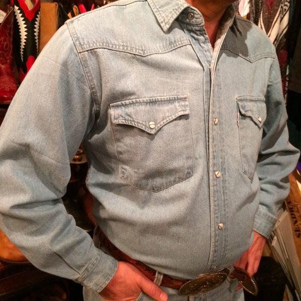 chemise western ref SHOOTER homme bleu clair jean's lajoya2