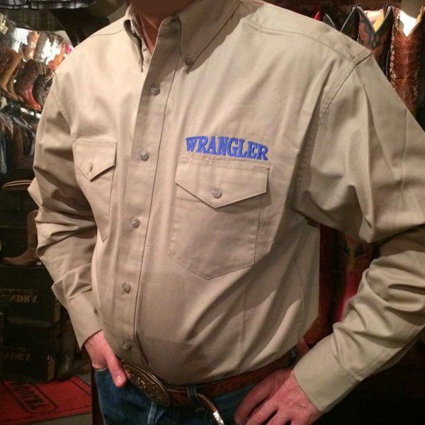 chemise western ref WRANGLER homme BEIGE BRODERIE bleu lajoya
