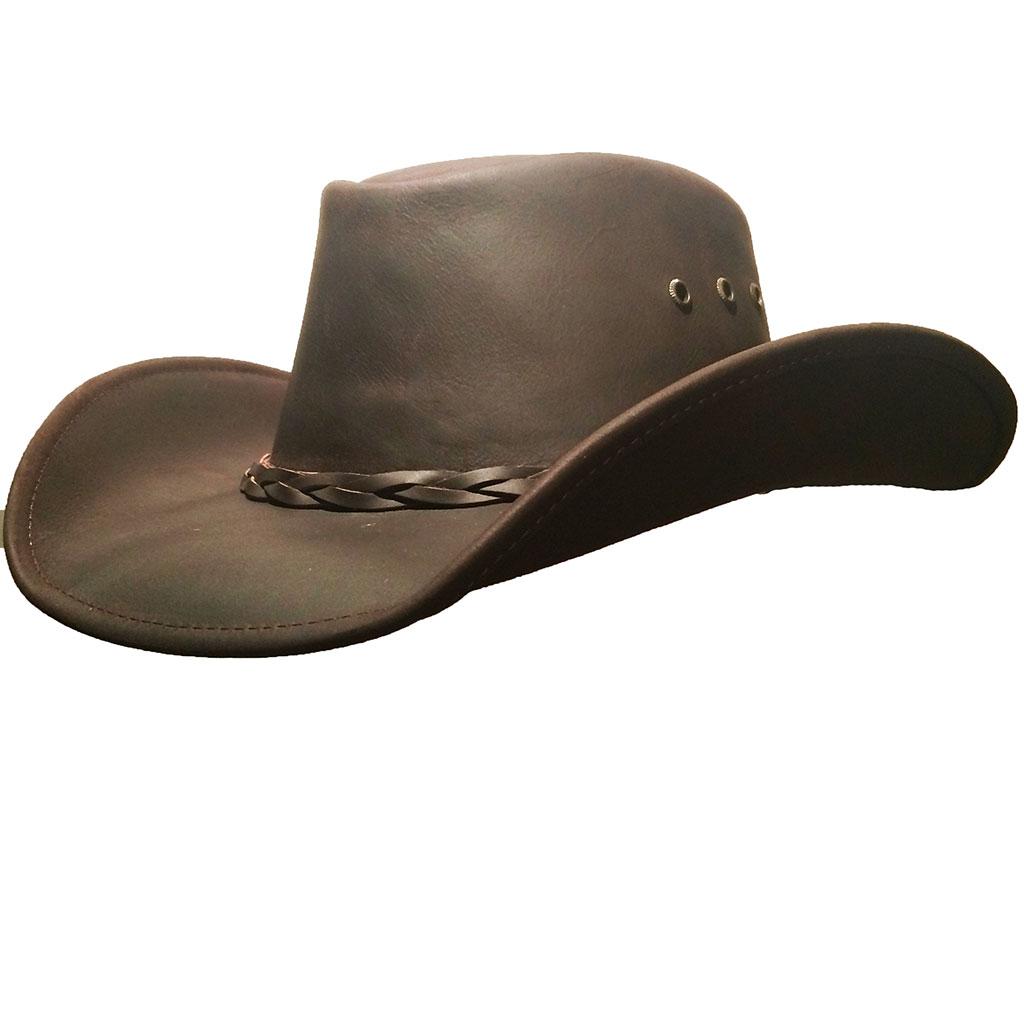 Country Chapeau En Marron Homme Western Outback Cuir RefVa1089 TJ1clFK