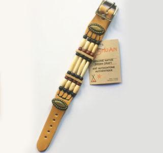 1031 marron clair Bracelets 4R AMERINDIEN HURON 5 Nations Canada homme femme la joya-western