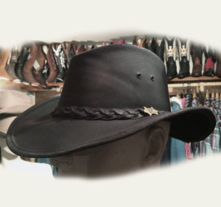chapeau Australien BC hats noir cuir homme femme la joya western